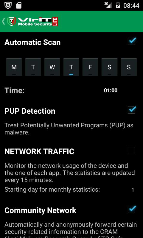 Impostazioni di VirIT Mobile Security
