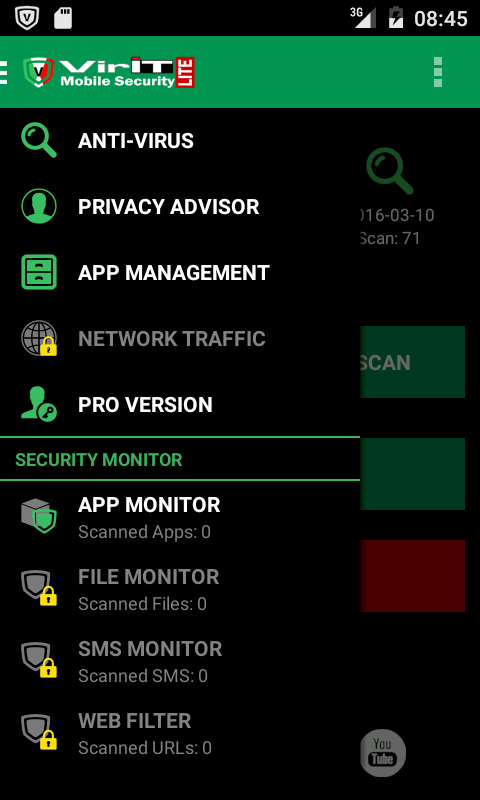 Lateral menu of VirIT Mobile Security