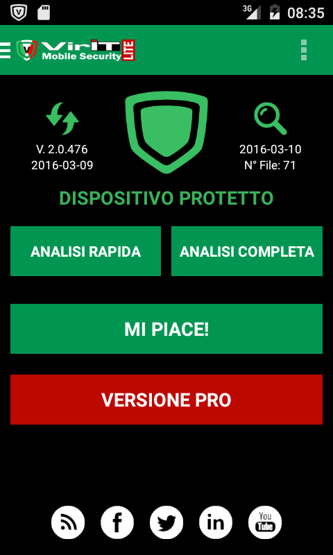 Homescreen di VirIT Mobile Security