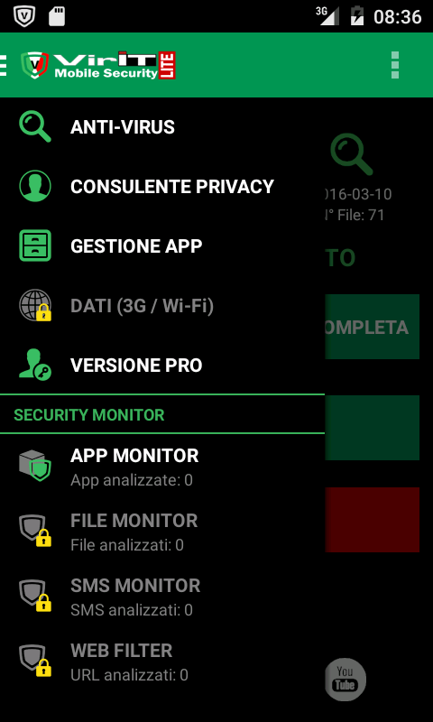 Menu laterale di VirIT Mobile Security