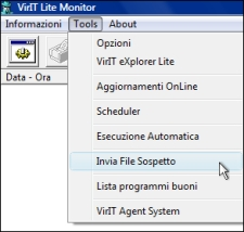 Invia file sospetto - Vir.IT Lite Monitor