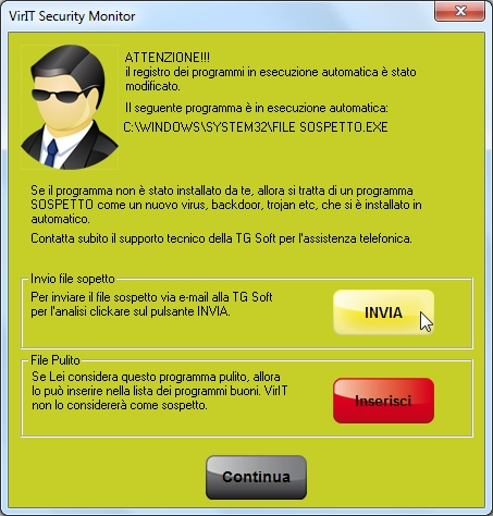 Invia file sospetto - Vir.IT Intrusion Detection