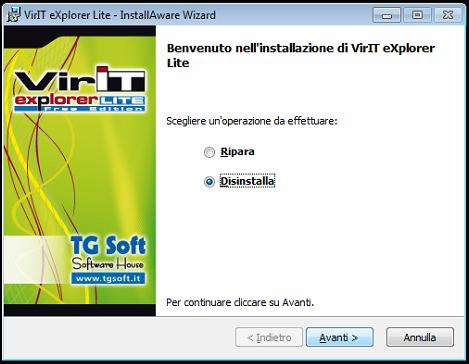 Finestra di Disinstallazione di VirIT eXplorer Lite