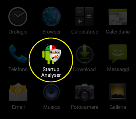 CRAM Startup Analyser: icona di avvio dell'applicazione