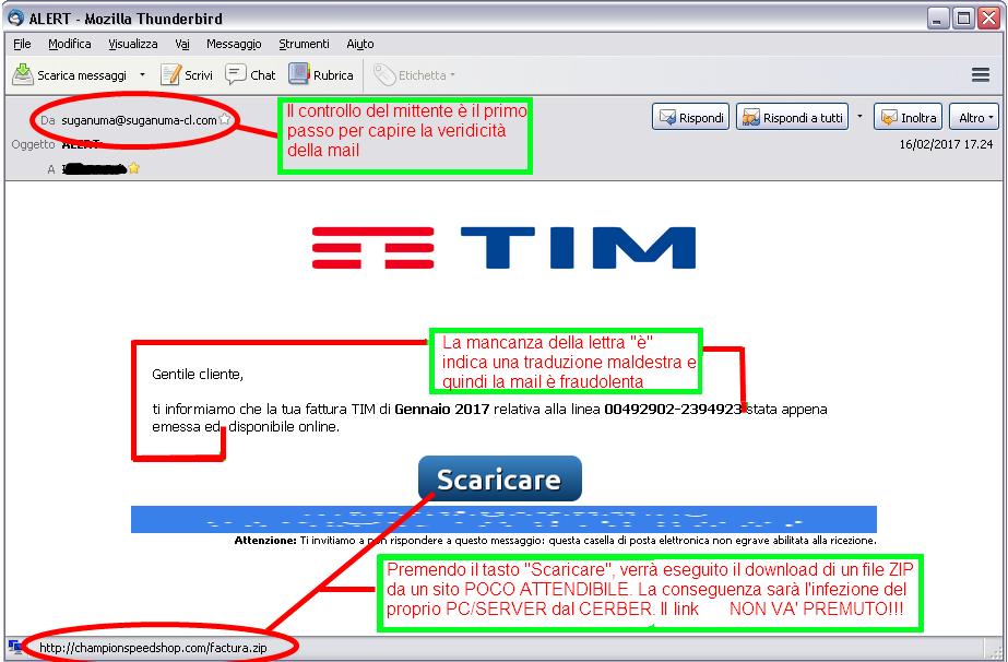 Immagine della falsa email con Link