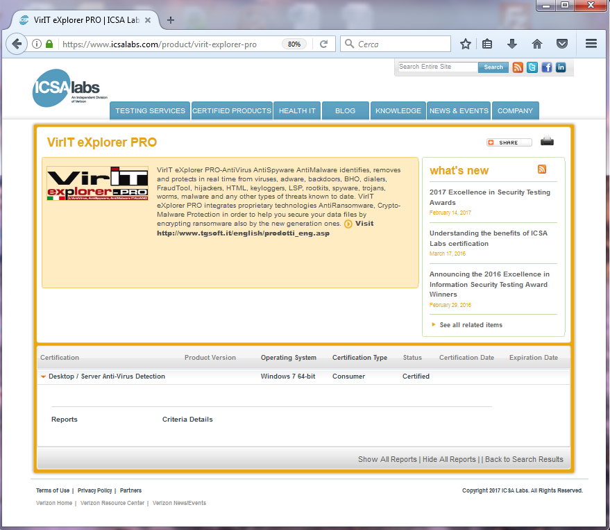 Vir.IT eXplorer PRO certified ICSALabs