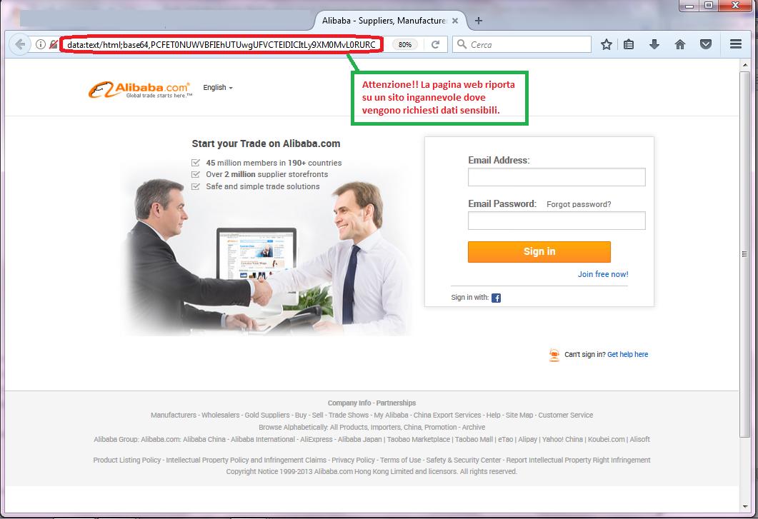 Clicca per ingrandire l'immagine del FALSO form di autenticazione di Alibaba, che induce l'ignaro ricevente ad inserire i codici di accesso al suo account