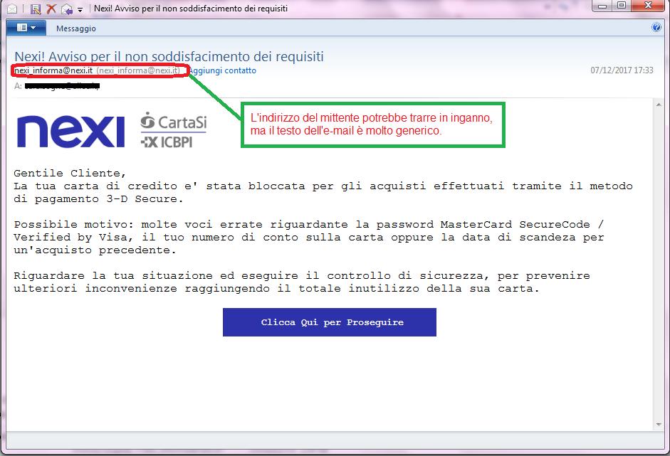 Clicca per ingrandire l'immagine della falsa e-mail di NEXI che cerca di rubare i codici della carta di credito dell'ignaro ricevente
