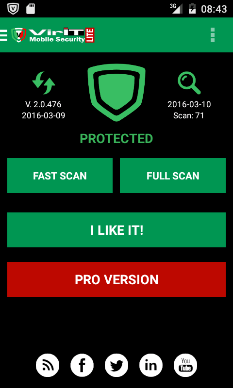 VirIT Mobile Security Homescreen