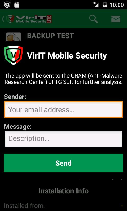 Send app to C.R.A.M. per analysis
