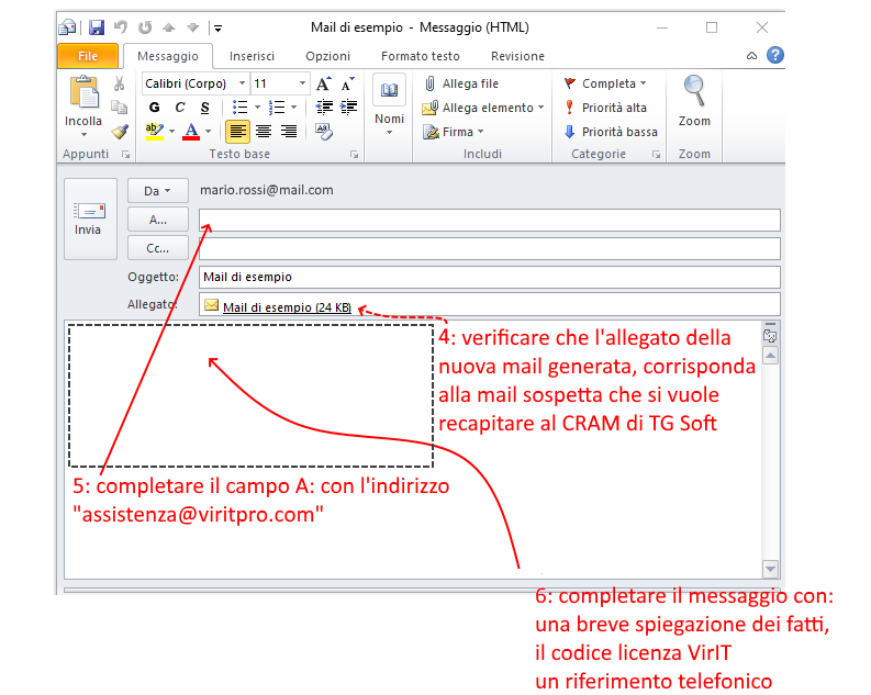 Inoltra Come Allegato usando Outlook