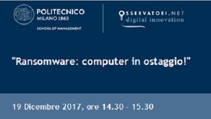 """Clicca per avere maggiori informazioni e iscriverti al webinar """"Ransomware: computer in ostaggio!"""""""