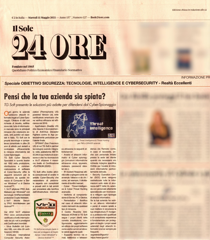 Il Sole 24 Ore => Lo speciale di TG Soft Cyber Security Specialist