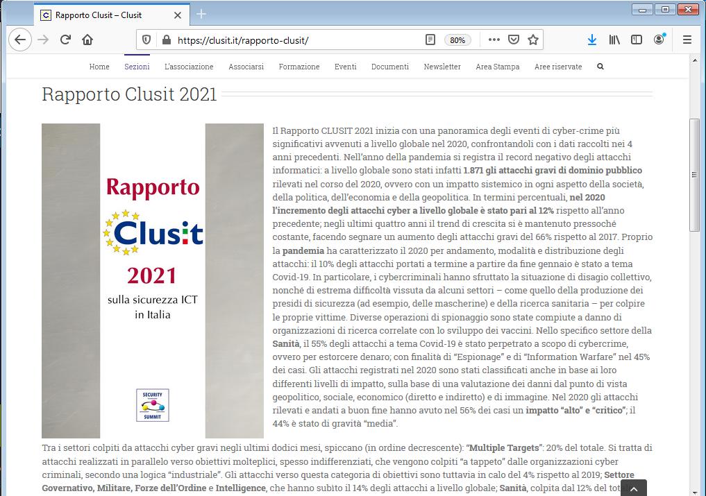 Rapporto Clusit 2021 con il contributo tecnico di TG Soft
