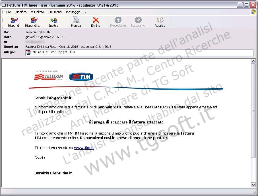 Immagine della falsa e-mail TELECOM Italia-TIM che diffonde nuove varianti di CTB-Locker
