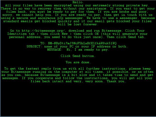 Immagine del messaggio che lascia nel PC / SERVER CryptoFF.D dopo aver crittografato i file...
