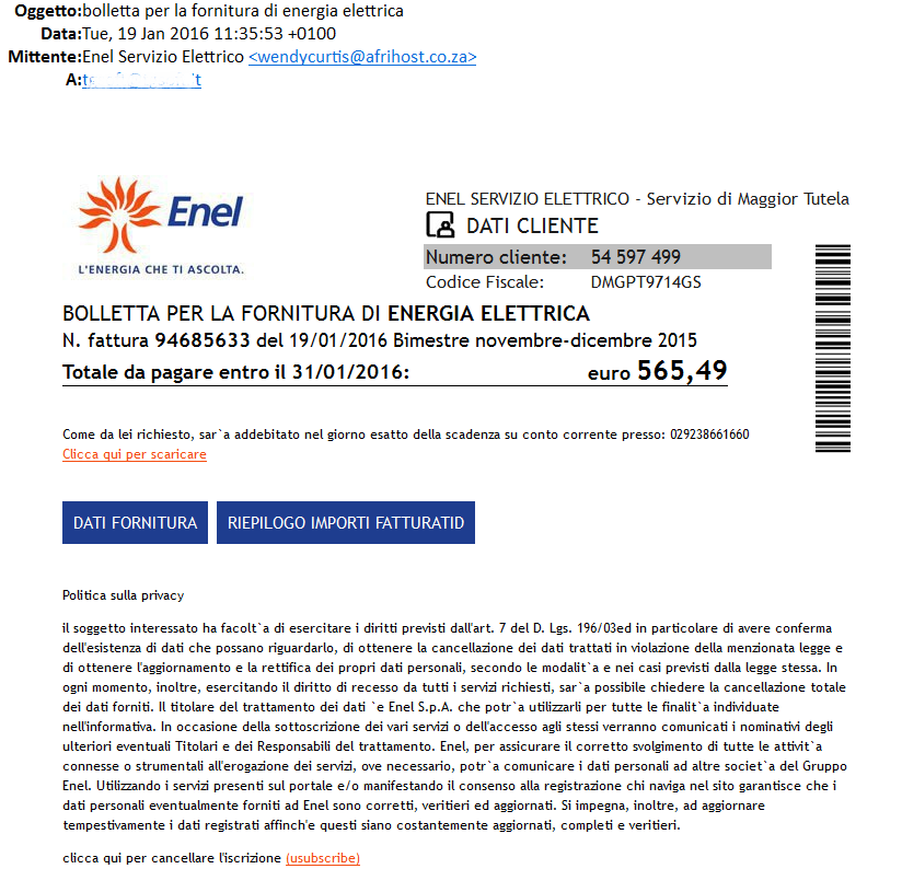 Immagine della falsa e-mail ENEL che diffonde nuove varianti di CryptoLocker