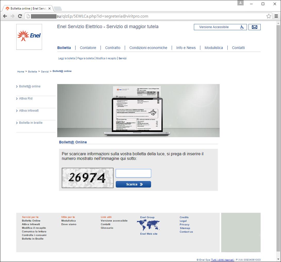 Immagine del falso sito ENEL di consultazione della Bolletta da pagare che diffonde nuove varianti di CryptoLocker