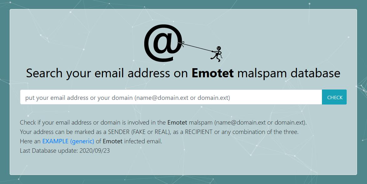 HAVEiBeenEMOTET => Scopri se il tuo indirizzo e-mail è stato utilizzato da EMOTET...