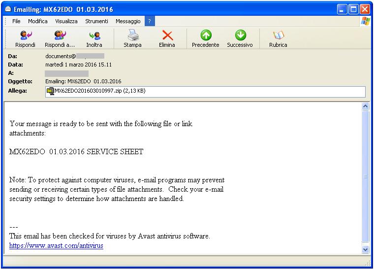 Clicca per ingrandire l'immagine di un esempio di email infetta che, se eseguito l'allegato, scatena LockyCripter
