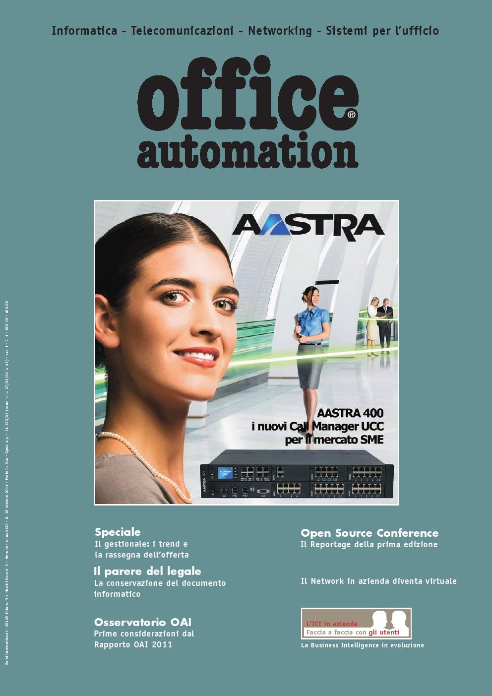 Visualizza la copertina di Office Automation ottobre 2011