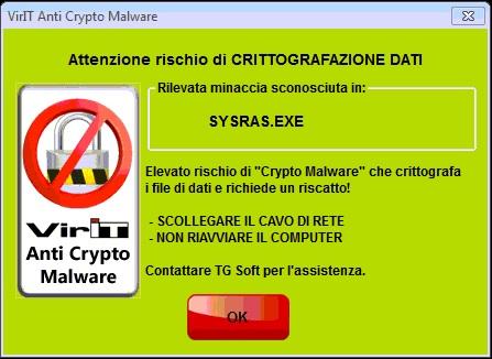 Videata protezione Anti-CryptoMalware integrata in Vir.IT eXporer PRO