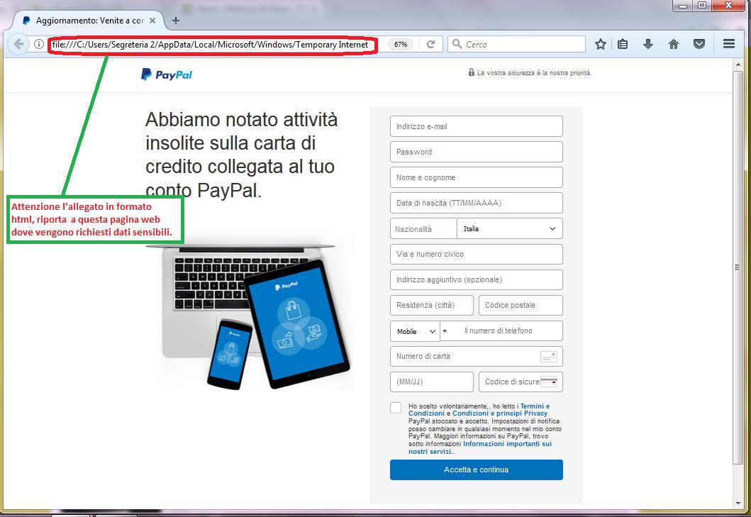 Clicca per ingrandire l'immagine del FALSO form di autenticazione di PayPal, che induce l'ignaro ricevente ad inserire i dati della carta di credito.