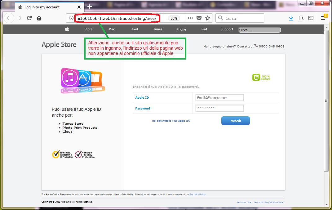 Clicca per ingrandire l'immagine del FALSO sito internet di APPLE, che cerca di indurre il ricevente a cliccare sui link per rubare le credenziali di accesso di Apple ID