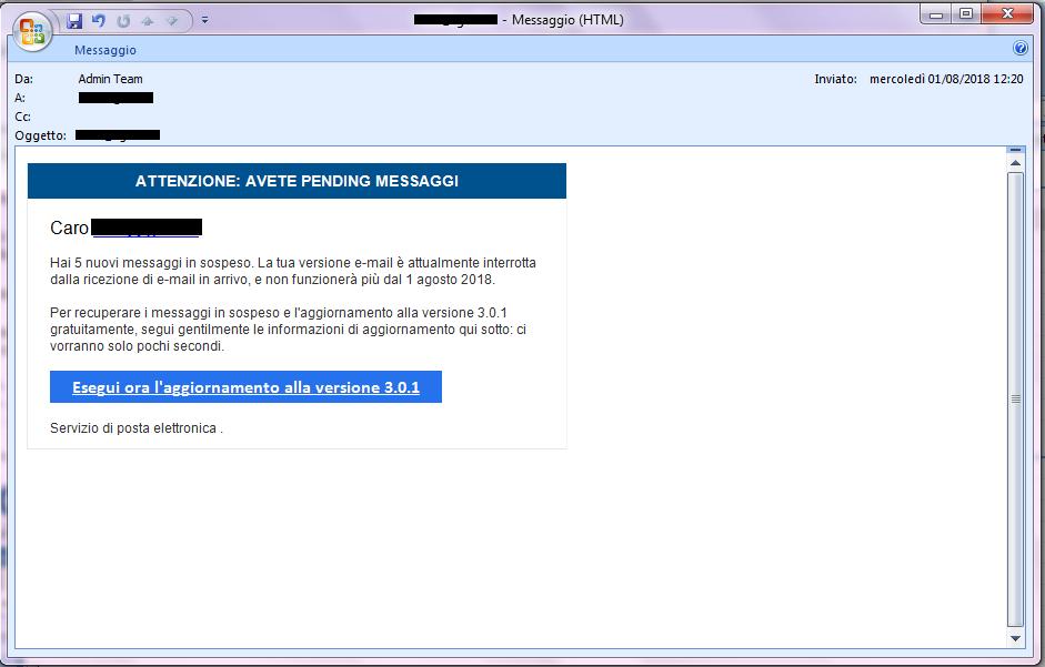 Clicca per ingrandire l'immagine della falsa e-mail del servizio di Posta elettronica, che cerca di rubarele credenziali della casella di posta elettronica.