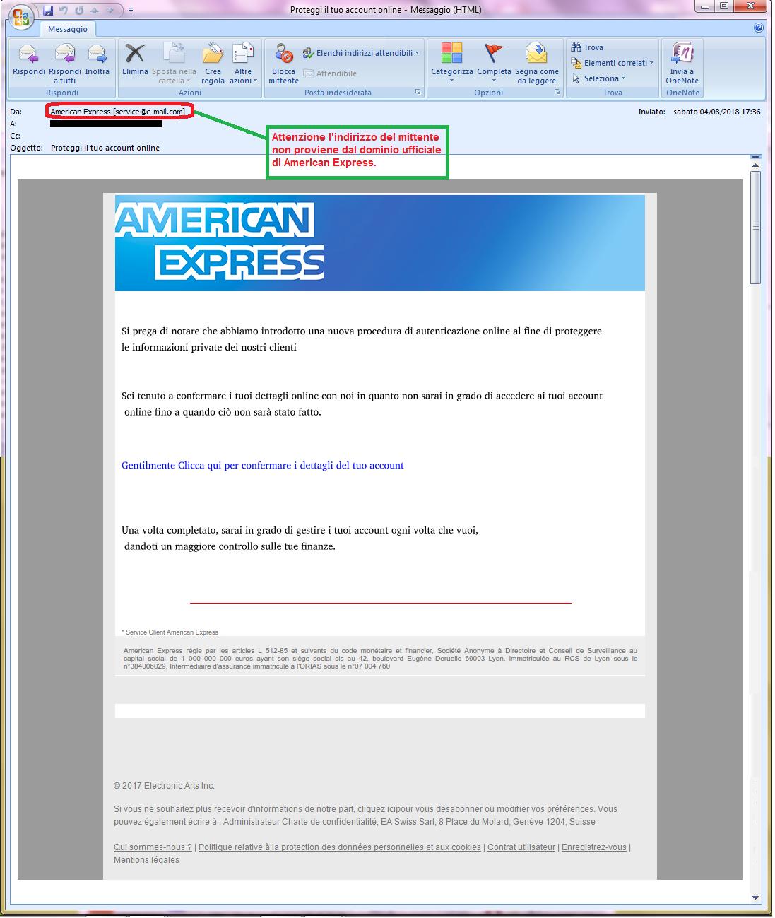 Clicca per ingrandire l'immagine della falsa e-mail di American Express, che cerca di rubare i codici della carta di credito dell'ignaro ricevente