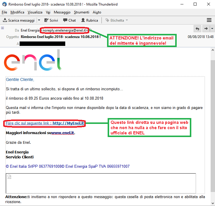 Clicca per ingrandire l'immagine della falsa e-mail di ENEL, che allude ad un rimborso che spetterebbe al ricevente ma che in realtà è una truffa!!