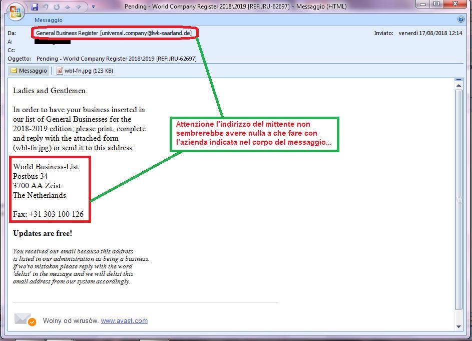 Clicca per ingrandire l'immagine della falsa e-mail di SCAM che cerca di rubare informazioni aziendali.