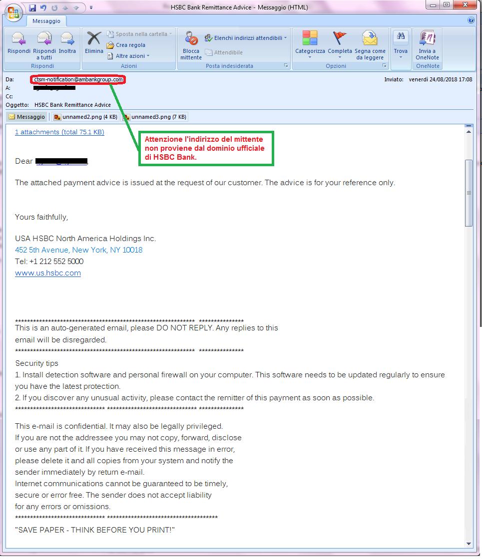 Clicca per ingrandire l'immagine della falsa e-mail di HSBC Bank, che cerca di rubarele credenziali della casella di Posta elettronica.