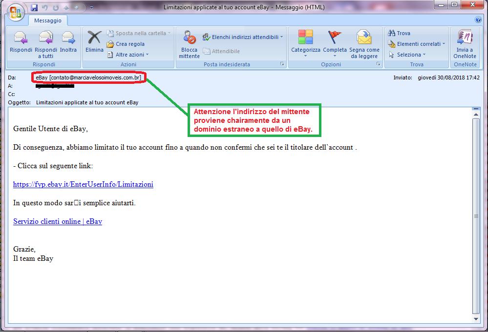 Clicca per ingrandire l'immagine della falsa e-mail di eBay, che cerca di rubarele credenziali di accesso all'account online.