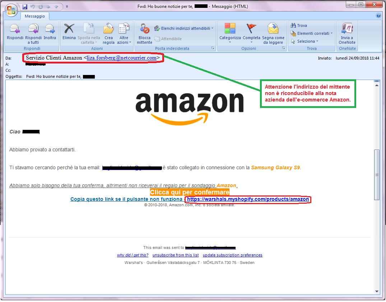 Clicca per ingrandire l'immagine della falsa e-mail di AMAZON che offre la possibilità di vincere premi esclusivi ma in realtà è una TRUFFA!