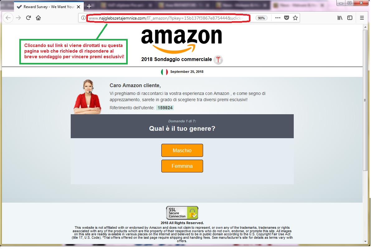 Clicca per ingrandire l'immagine del falso sondaggio di AMAZON, che offre premi esclusivi ma che in realtà è una TRUFFA!
