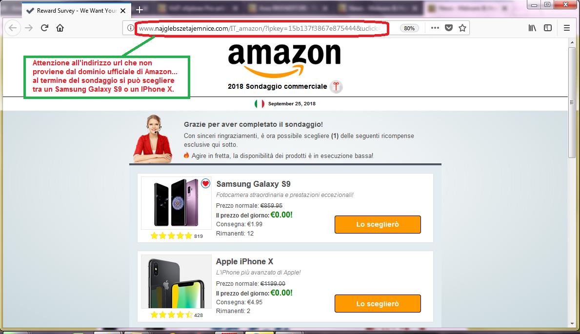 Clicca per ingrandire l'immagine del falso sondaggio di AMAZON, che offre premi esclusivi.