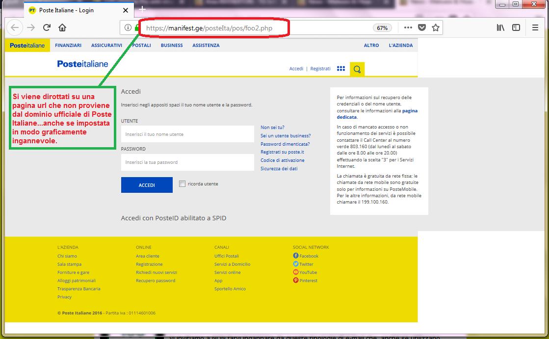 Clicca per ingrandire l'immagine della falsa e-mail di Poste Italiane, che cerca di rubare le credenziali di accesso all'account