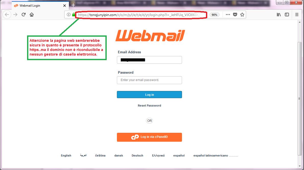 Clicca per ingrandire l'immagine della falso sito Webmail che cerca di rubare la password della casella di posta elettronica.