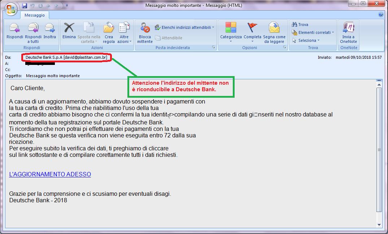 Clicca per ingrandire l'immagine della falsa e-mail di Deutsche Bank che cerca di rubare i codici della carta di credito dell'ignaro ricevente.