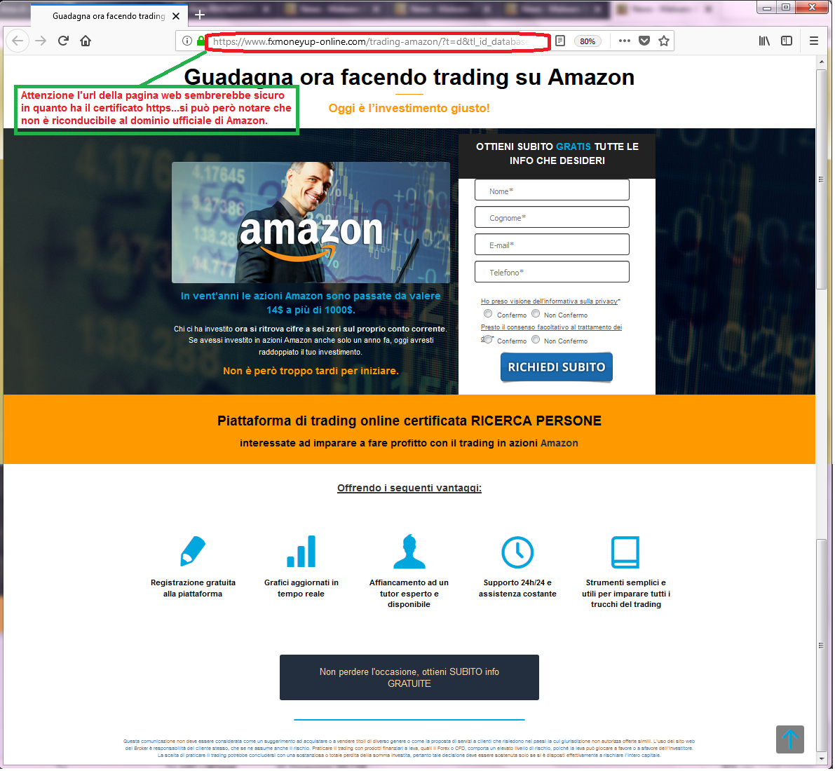 Clicca per ingrandire l'immagine del FALSO sito internet di AMAZON, che cerca di indurre il ricevente a cliccare sui link per rubare dati sensibili