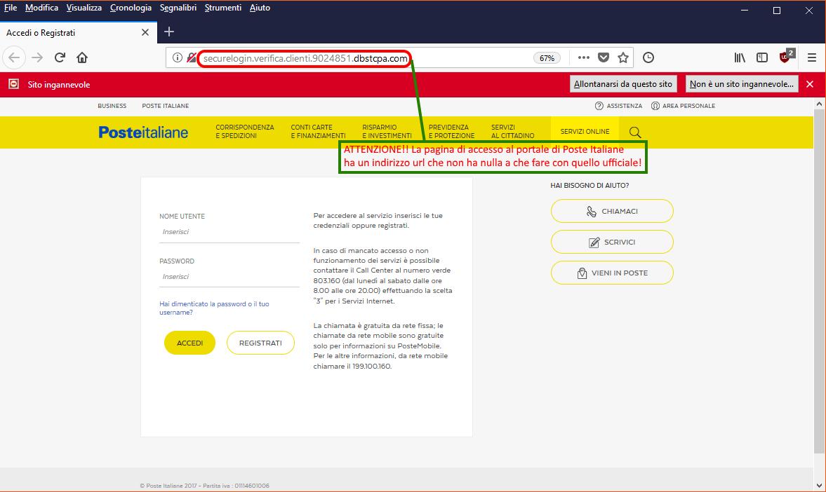 Clicca per ingrandire l'immagine della falsa e-mail di Poste Italiane, che cerca di rubare le credenziali di accesso all'accoun