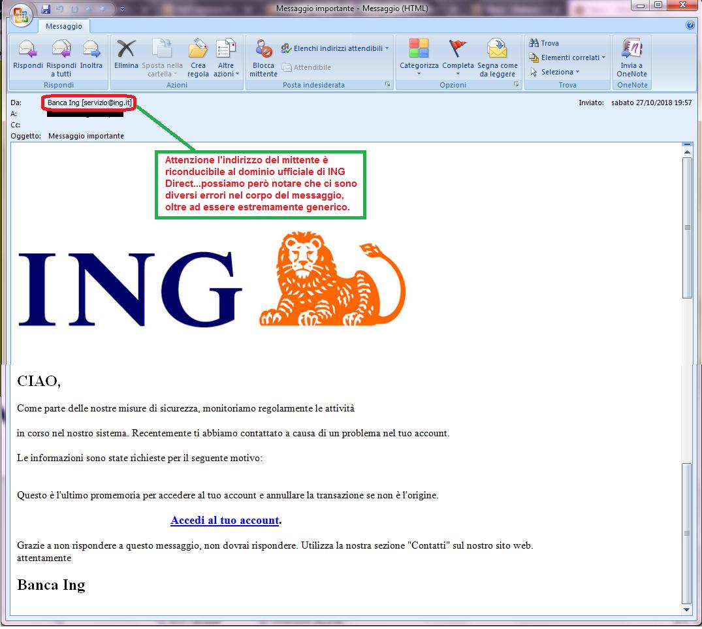 Clicca per ingrandire l'immagine della falsa e-mail di ING Direct che cerca di rubare le credenziali di accesso all'account dell'ignaro ricevente.