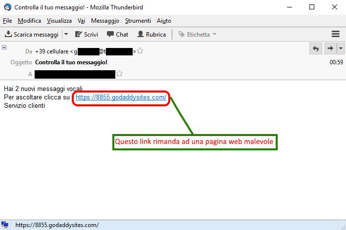 Clicca per ingrandire l'immagine della falsa e-mail di LIBERO che ricorda di ascoltare i messaggi vocali ma in realtà è una TRUFFA!