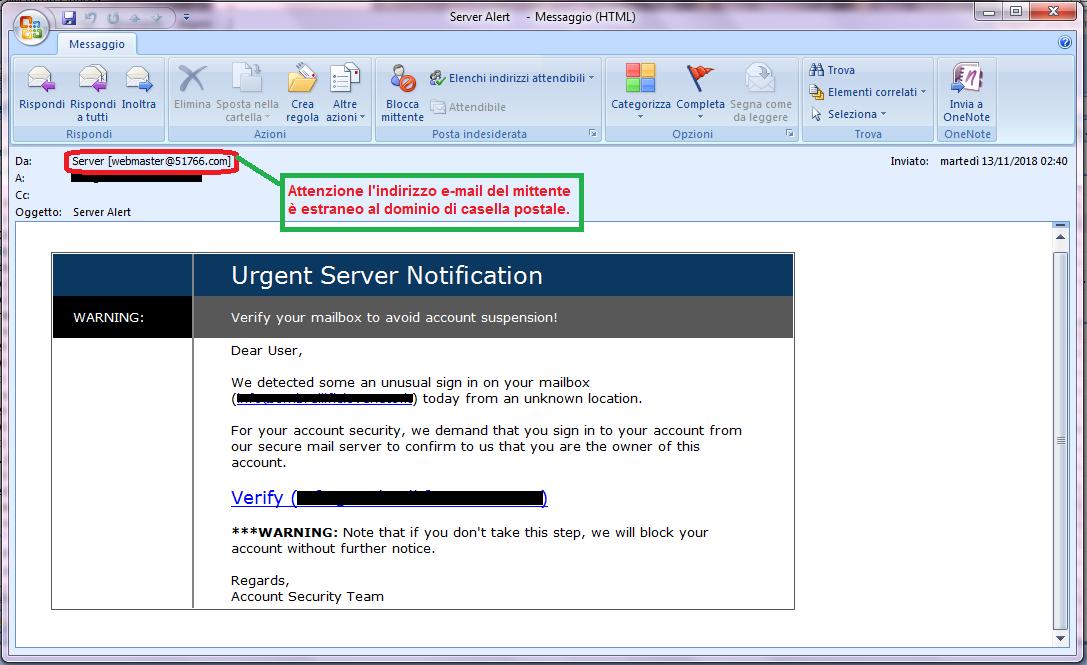 Clicca per ingrandire l'immagine della falsa e-mail che cerca di rubare la password della casella di posta elettronica.