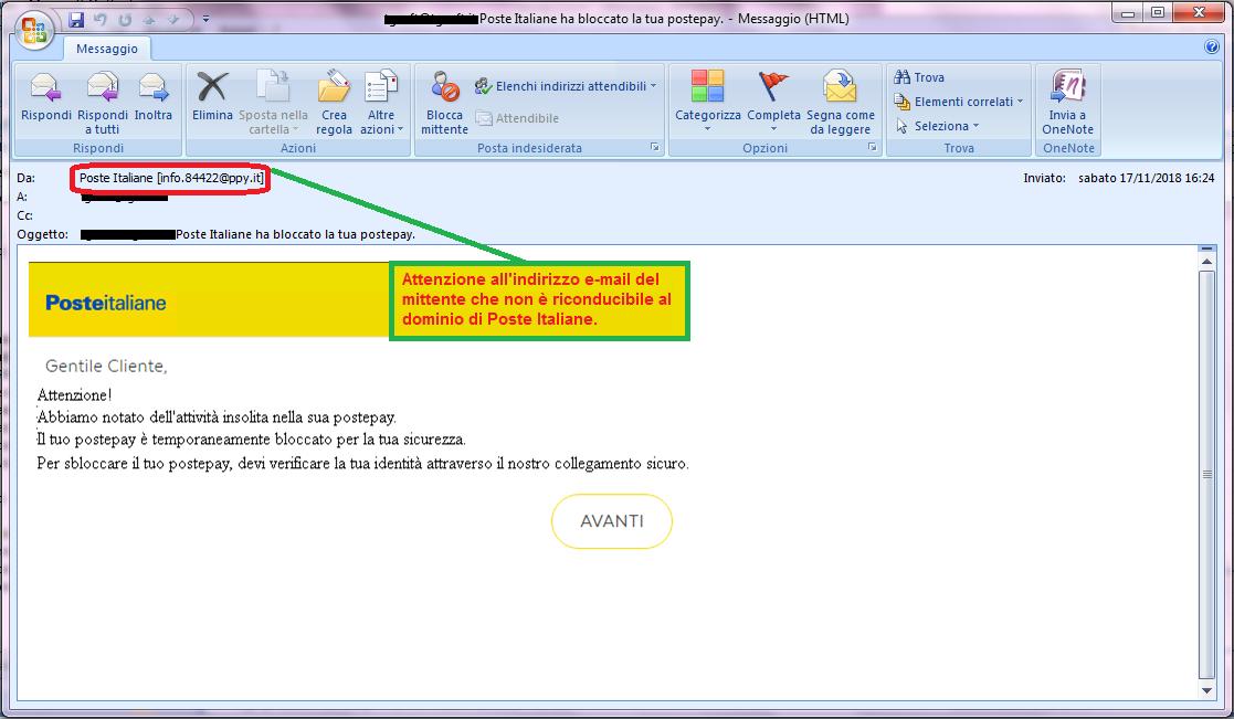 Clicca per ingrandire l'immagine della falsa e-mail di Poste Italiane, che cerca di rubarele credenziali di accesso all'account.