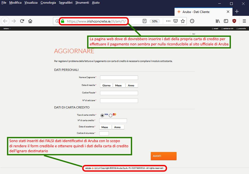 Clicca per ingrandire l'immagine del falsa pagina web di Banca Sella, che richiede l'inserimento dei dati della carta di credito per il pagamento del dominio in scadenza.