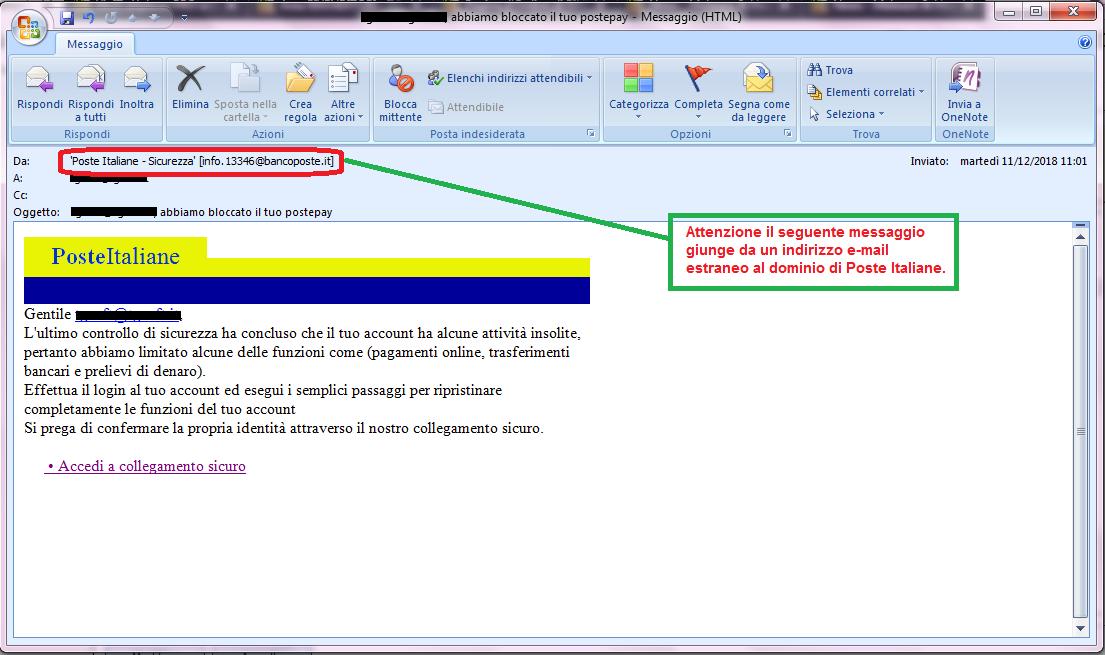 Clicca per ingrandire l'immagine della falsa e-mail di Poste Italiane, che cerca di rubare le credenziali di accesso all'account.
