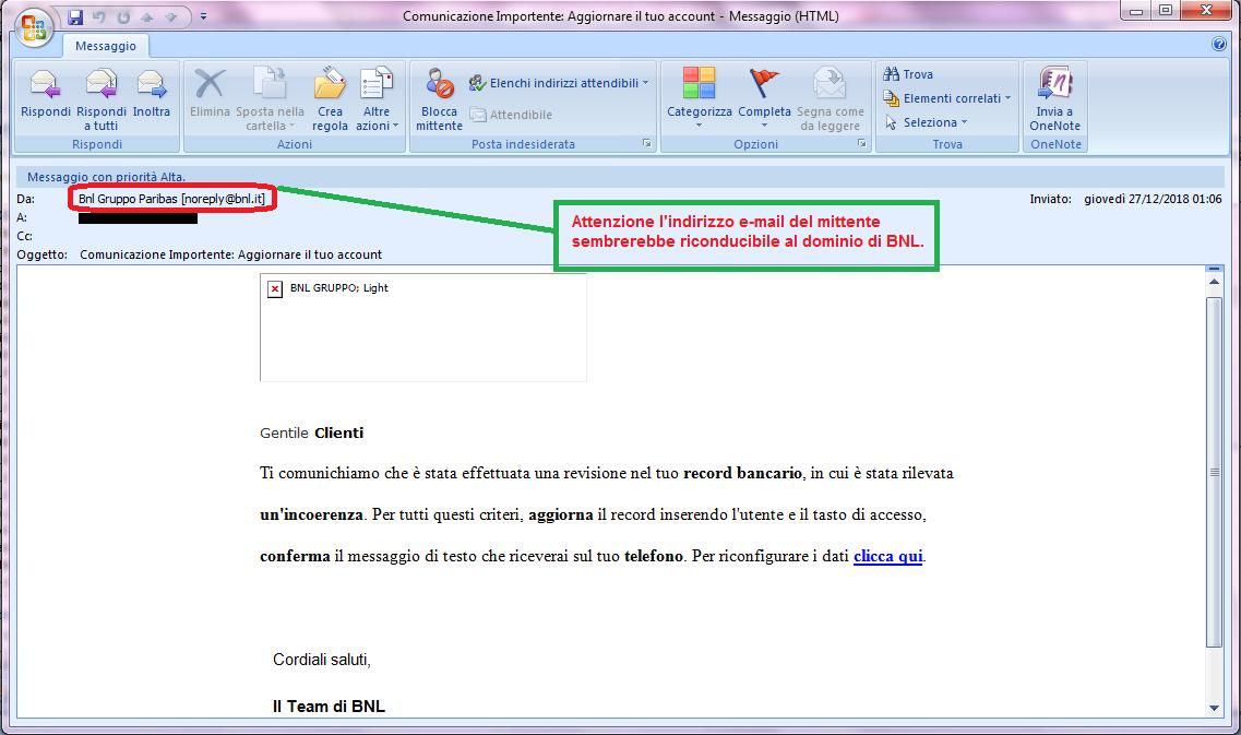 Clicca per ingrandire l'immagine della falsa e-mail di BNL che cerca di rubare le credenziali di accesso all'account dell'ignaro ricevente.