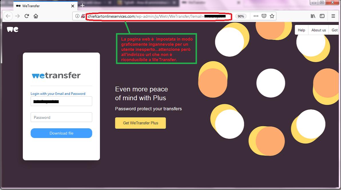 Clicca per ingrandire l'immagine della falso sito WeTransfer che cerca di rubarele credenziali della casella di posta elettronica.